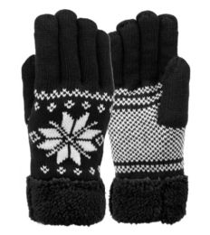 12 Units of Mens Snowflake Winter Knit Glove With Touch Screen - Conductive Texting Gloves