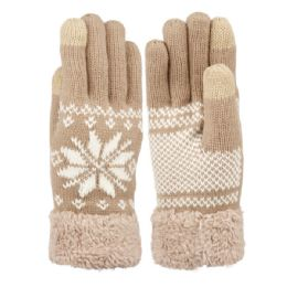 12 Units of Ladies Snowflake Winter Knit Glove With Touch Screen - Conductive Texting Gloves