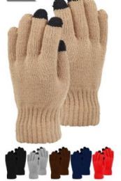 48 Units of Mens Heavy Knit Glove With Screen Touch Assorted Color - Conductive Texting Gloves