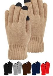 48 Units of Mens Heavy Knit Glove With Screen Touch In Black - Conductive Texting Gloves