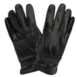12 Units of Mens Genuine Leather Gloves With Faux Fur Lining And Elastic Cuff - Leather Gloves