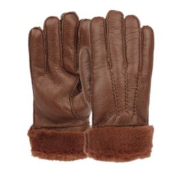 12 Units of Mens Faux Leather Winter Glove With Fur Cuff And Lining - Leather Gloves