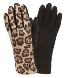 12 Units of Ladies Animal Leopard Print Touch Screen Glove - Conductive Texting Gloves