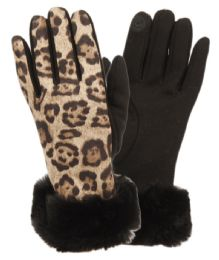 12 Units of Ladies Animal Leopard Print Touch Screen Glove With Cuff - Conductive Texting Gloves