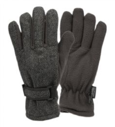 12 Units of Mens Wool Blend Glove With Thermal Fleece Lining In Grey - Conductive Texting Gloves