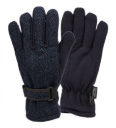 12 Units of Mens Wool Blend Glove With Thermal Fleece Lining In Navy - Conductive Texting Gloves