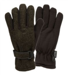 12 Units of Mens Wool Blend Glove With Thermal Fleece Lining In Olive - Conductive Texting Gloves