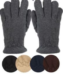 24 Units of Mens Thermal Fleece Glove In Assorted Color - Conductive Texting Gloves
