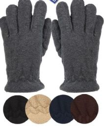 24 Units of Mens Thermal Fleece Glove In Black - Conductive Texting Gloves