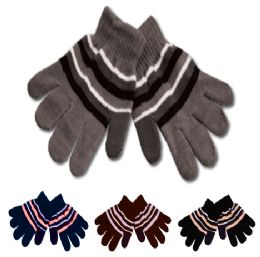 96 Units of Kids Knit Stripe Glove - Knitted Stretch Gloves