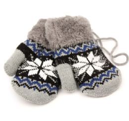 24 Units of Winter Knit Kids Mittens With Warm Sherpa Lining And String - Knitted Stretch Gloves