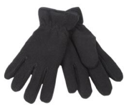 24 Units of Kids Winter Fleece Glove In Black - Fleece Gloves