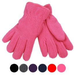 24 Units of Kids Winter Fleece Glove In Assorted Color - Fleece Gloves