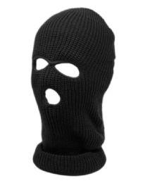 24 Units of 3 Holes Winter Sports Knit Mask In Black - Unisex Ski Masks
