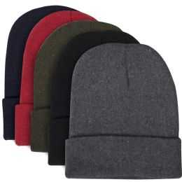 100 Units of Adult Knit Hat Beanie 5 Assorted Colors - Winter Beanie Hats