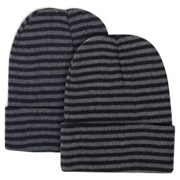 100 Units of Adult Knit Hat Beanie Striped Pattern - Winter Beanie Hats