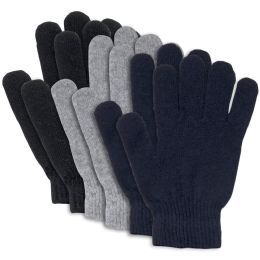 100 Units of Adult Knitted Gloves 3 Assorted Colors - Knitted Stretch Gloves