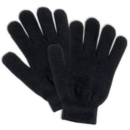 100 Units of Adult Knitted Gloves Black Only - Knitted Stretch Gloves