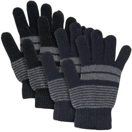 100 Units of Adult Knitted Gloves Striped Patterns - Knitted Stretch Gloves