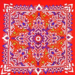 96 Units of Late Red Paisley Printed Cotton Bandana - Bandanas