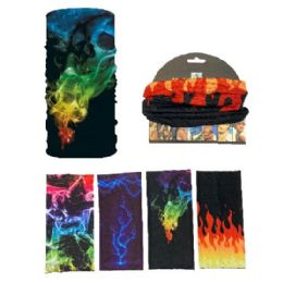 36 Units of Multi Functional Headgear Gaiter Buff Flame - Face Mask