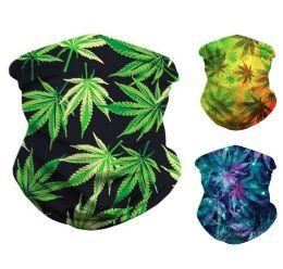 36 Units of Multi Functional Headgear Gaiter Buff Marjuana - Face Mask
