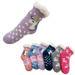 36 Units of Child's Plush Lined Non Slip Sherpa Socks Unicorns And Llamas - Girls Ankle Sock