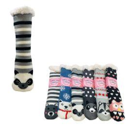 36 Units of Plush Lined Non Slip Sherpa Socks Critter Faces - Womens Slipper Sock