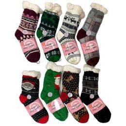 36 Units of PlusH-Lined Non Slip Sherpa Socks Holiday Assortment - Womens Slipper Sock