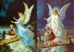 40 Units of 3D Picture Guardian Angel Children On Bridge - Home Decor