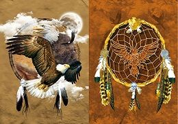 40 Units of 3D Picture Dream Catcher With Eagle - Home Decor