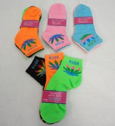 144 Units of 3 Pair Ladies Anklet Marijuana With Color Leaf - Womens Ankle Sock