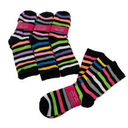 60 Units of 3 Pair Ladies Crew Socks Multi Color Stripe - Womens Crew Sock