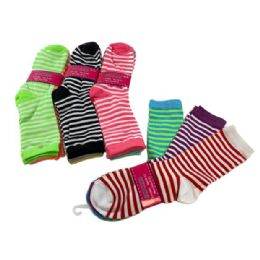 60 Units of 3 Pair Ladies Crew Socks Two Color Thin Stripe - Womens Crew Sock