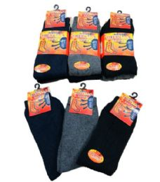60 Units of Mens Thermal Crew Socks Black Grey Navy - Mens Crew Socks