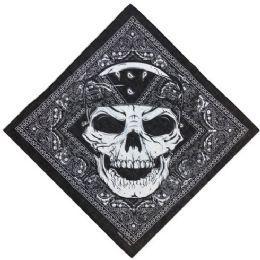 60 Units of Bandana Black Paisley With Large Skull - Bandanas