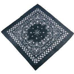 60 Units of Bandana Black Paisley Skull with Checkerboard Border - Bandanas