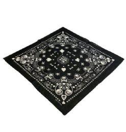 60 Units of Bandana Black Paisley Print Club Spade Heart Diamond - Bandanas
