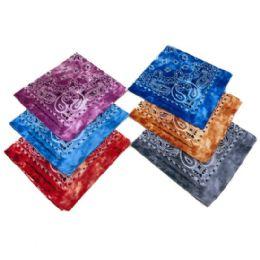 60 Units of Bandana Tie Dye Paisley Assortment - Bandanas