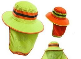 24 Units of Boonie Hat High Visibility Mesh Hat With Mesh Flap - Cowboy & Boonie Hat
