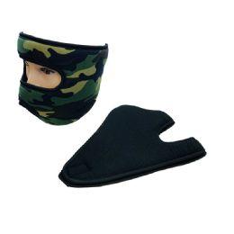 36 Units of Extra Warm Fleece Wrap Around Face Mask Black Camo - Unisex Ski Masks