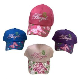 36 Units of Girl's Embroidered Ball Cap Angel Printed Bill - Manicure and Pedicure Items