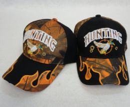 36 Units of Hunting Hat Duck Camo Flames On BIll - Baseball Caps & Snap Backs