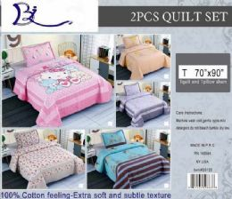 10 Units of 2 Pieces Quilt And Pillow Sham Set Twin Size - Comforters & Bed Sets