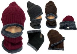 24 Units of Man Plush lining Winter Beanie Hat And Neck Cover Set - Winter Sets Scarves , Hats & Gloves