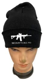 36 Units of We Don't Call 911 Black color Winter Beanie - Winter Beanie Hats