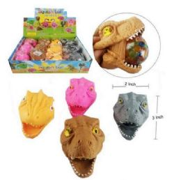 72 Units of Mesh Squish Ball With Water Beads Dinosaur Head - Slime & Squishees