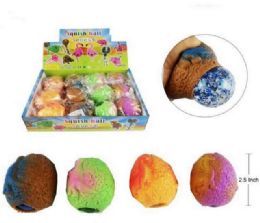 72 Units of Mesh Squish Ball With Water Beads Dinosaur Egg - Slime & Squishees