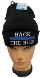 36 Units of Back the Blue Black Winter Beanie - Winter Beanie Hats