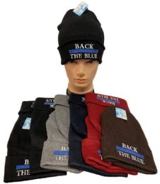 36 Units of Back The Blue Winter Beanie Mix Color - Winter Beanie Hats